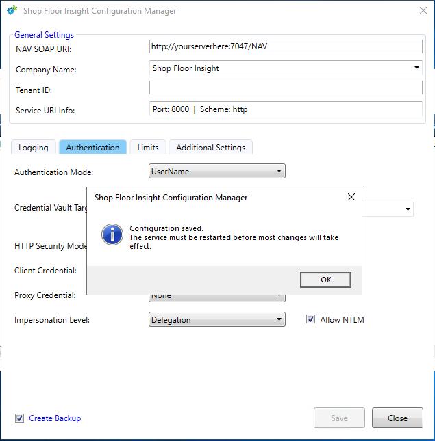 Configuration Saving Confirmation
