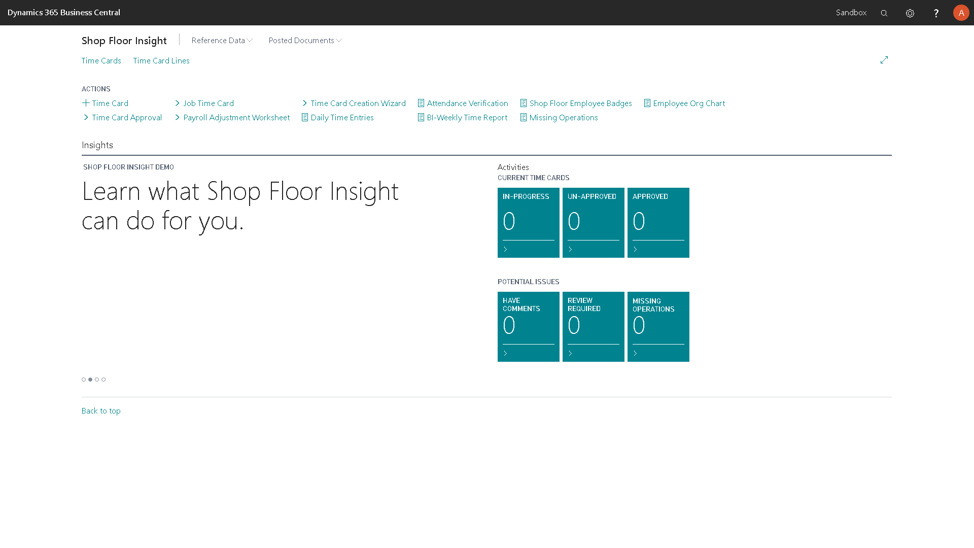 Shop Floor Insight Time Card