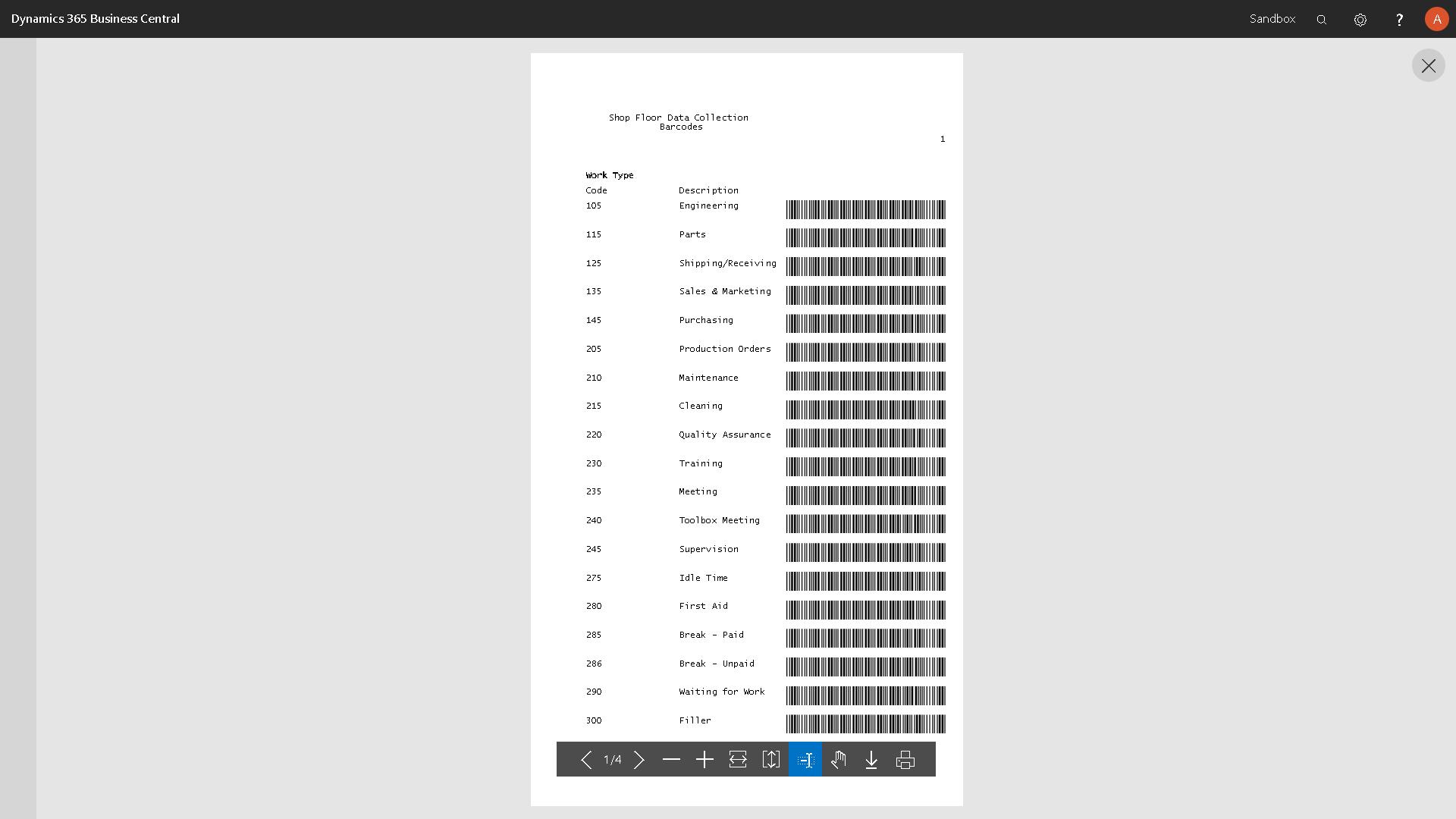 Barcodes List