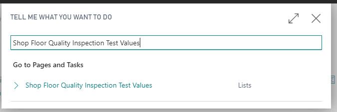 Shop Floor Quality Inspection Test Values