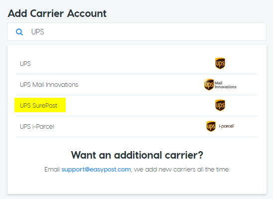 Add Carrier Account