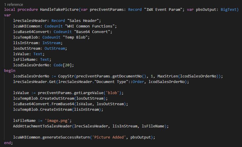 Code - HandleTakePicture