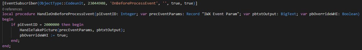 Code - OnBeforeProcessEvent