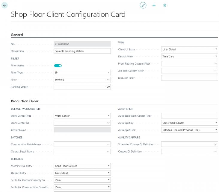 Client Configuration Card