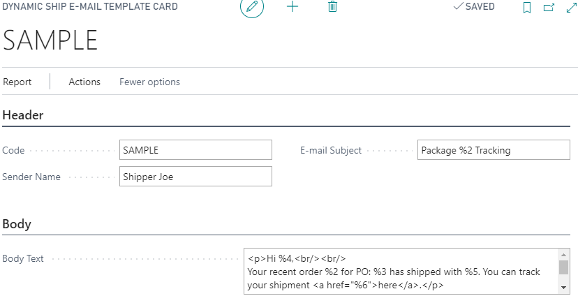 Dynamic Ship Email Template Card