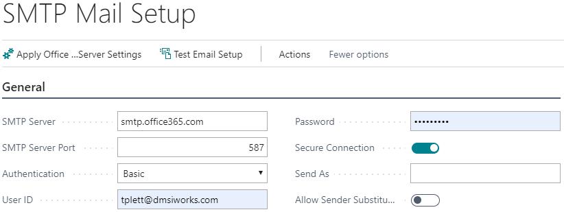 SMTP Mail Setup