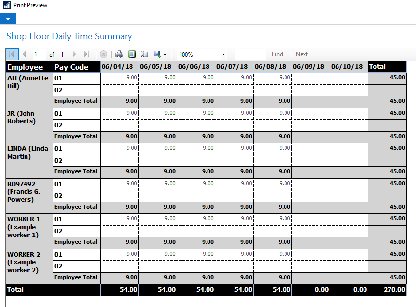 Shop Floor Daily Time Summary