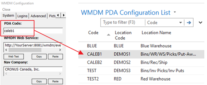 WMDM PDA Configuration List