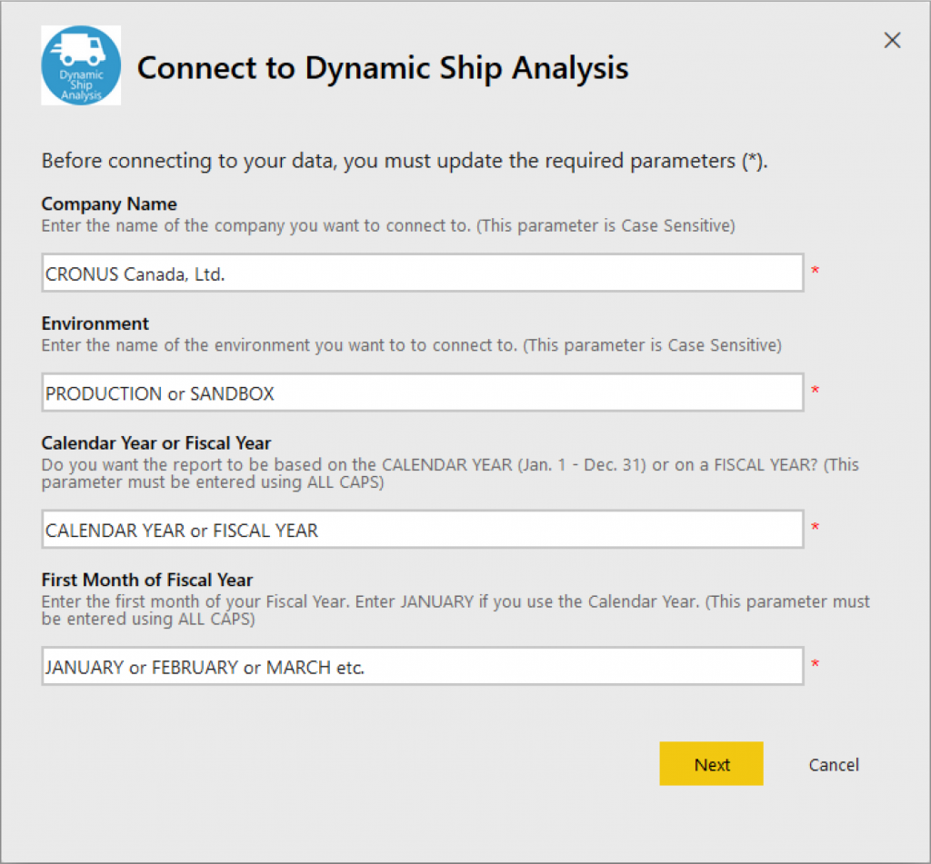 Connect to Dynamic Ship Analysis