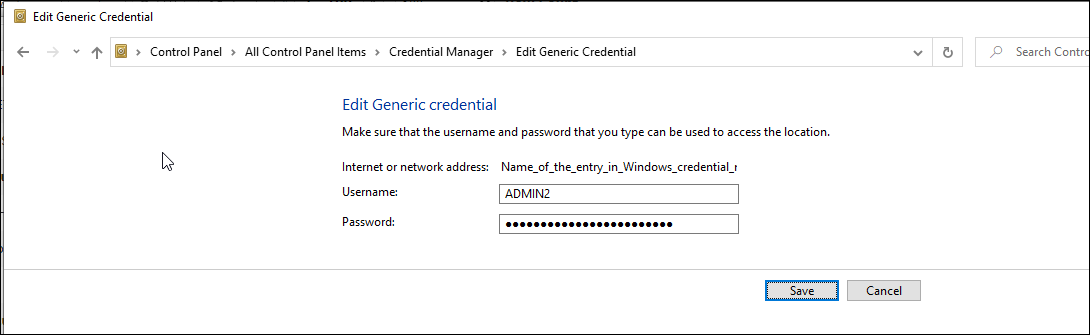 Edit Generic Credentials